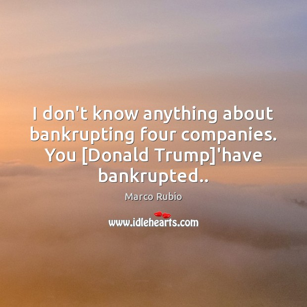 I don't know anything about bankrupting four companies. You [Donald Trump]'have Marco Rubio Picture Quote