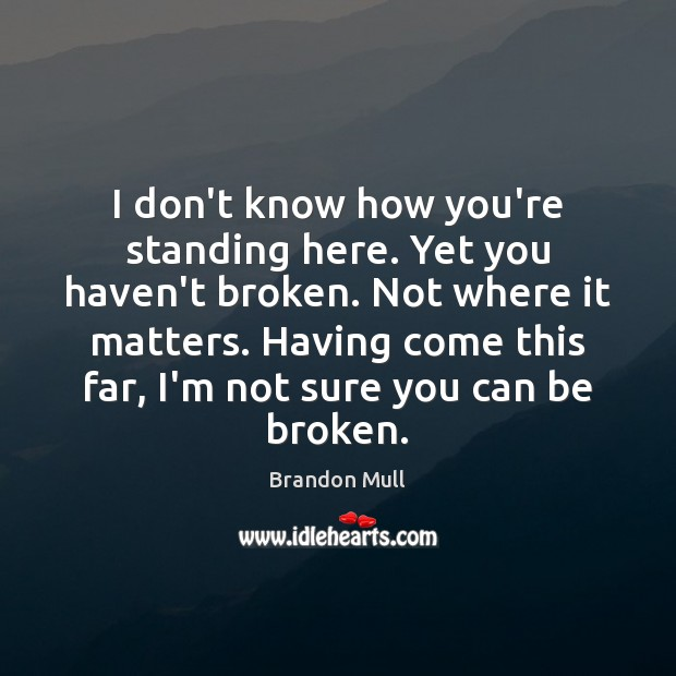 I don't know how you're standing here. Yet you haven't broken. Not Brandon Mull Picture Quote
