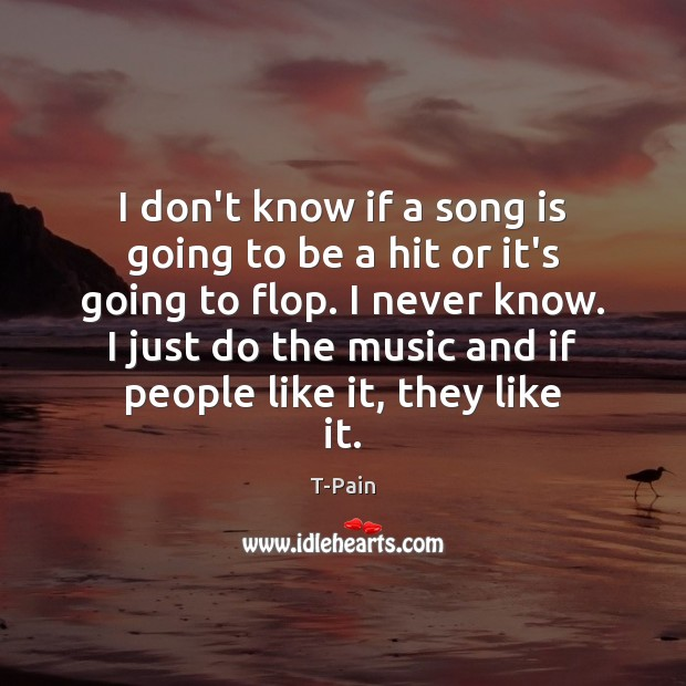 I don't know if a song is going to be a hit T-Pain Picture Quote