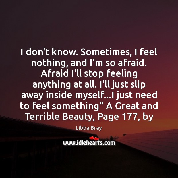 I don't know. Sometimes, I feel nothing, and I'm so afraid. Afraid Libba Bray Picture Quote