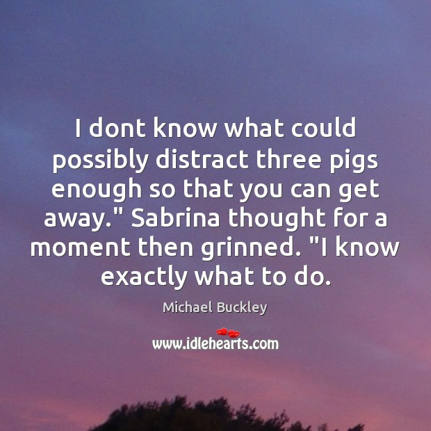I dont know what could possibly distract three pigs enough so that Image