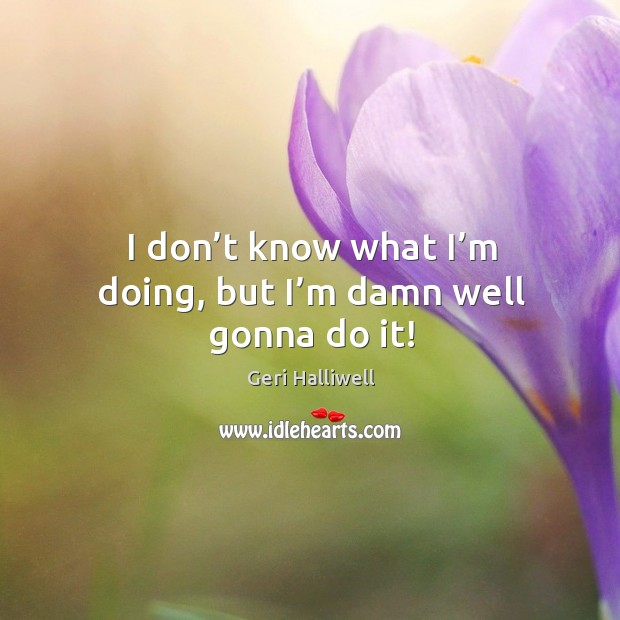 I don't know what I'm doing, but I'm damn well gonna do it! Geri Halliwell Picture Quote