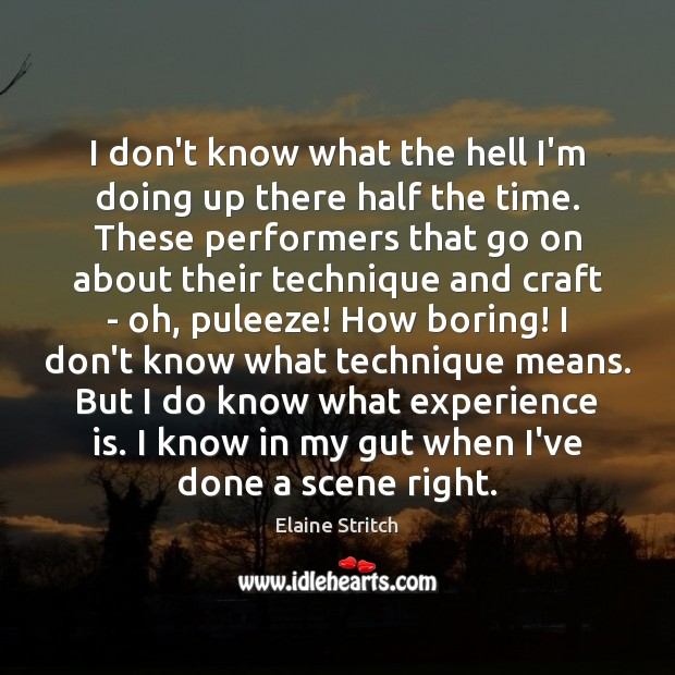 I don't know what the hell I'm doing up there half the Elaine Stritch Picture Quote