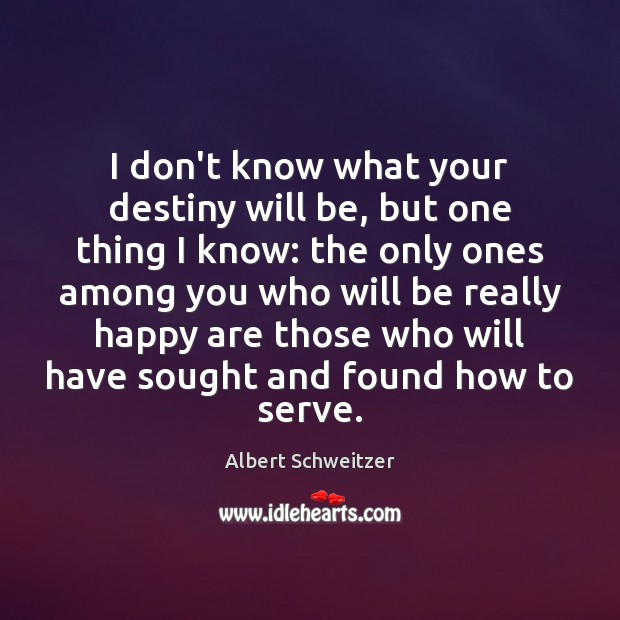 I don't know what your destiny will be, but one thing I Albert Schweitzer Picture Quote