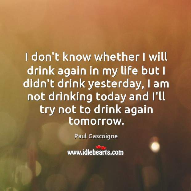 I don't know whether I will drink again in my life but Paul Gascoigne Picture Quote
