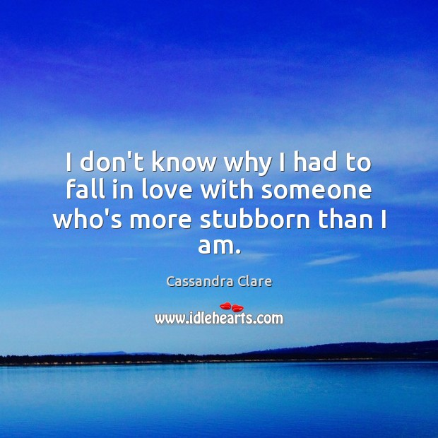 I don't know why I had to fall in love with someone who's more stubborn than I am. Image
