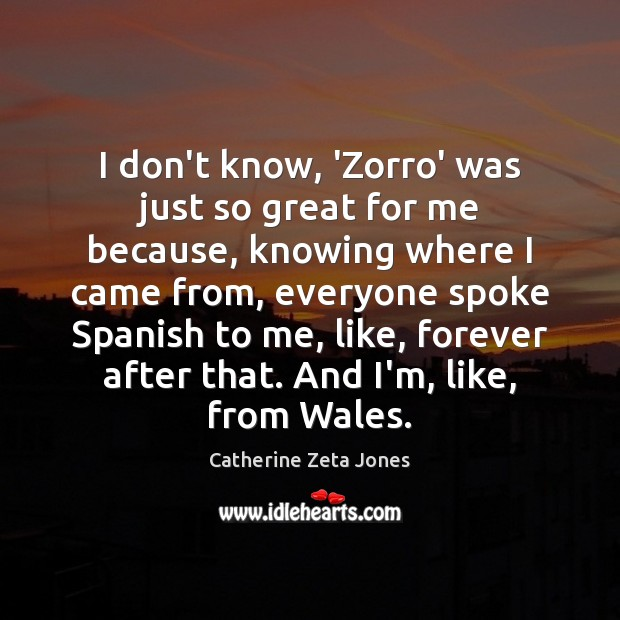 I don't know, 'Zorro' was just so great for me because, knowing Catherine Zeta Jones Picture Quote