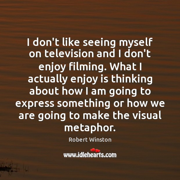 Image, I don't like seeing myself on television and I don't enjoy filming.