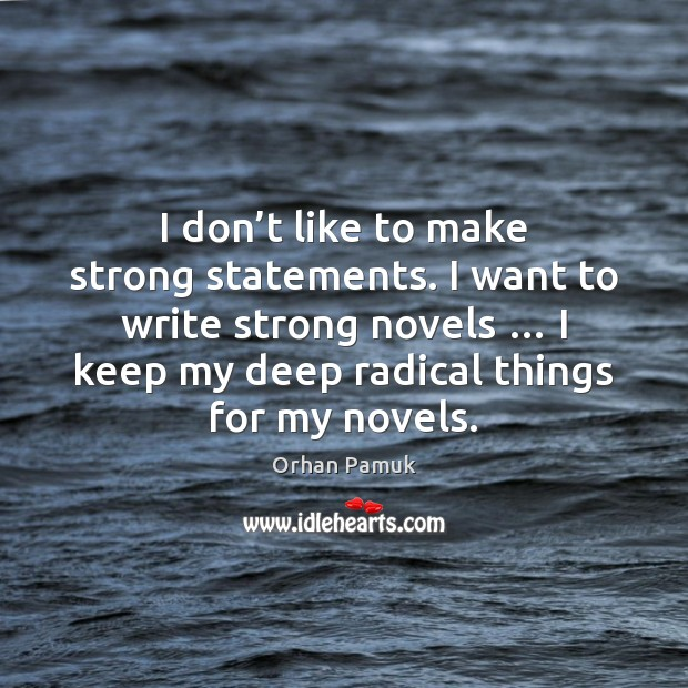 I don't like to make strong statements. I want to write Image