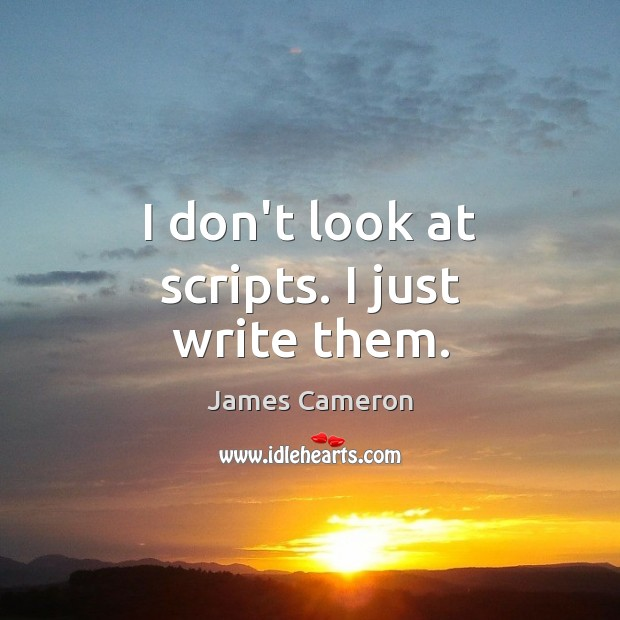 I don't look at scripts. I just write them. James Cameron Picture Quote