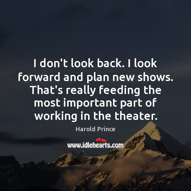I don't look back. I look forward and plan new shows. That's Image