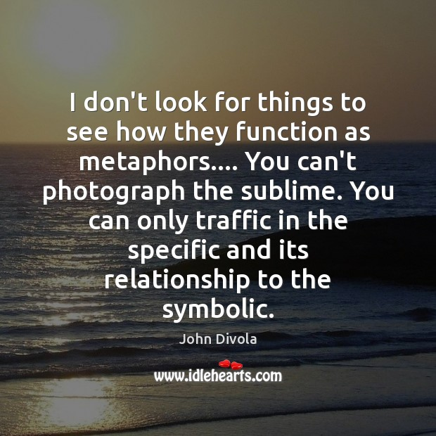 I don't look for things to see how they function as metaphors…. Image