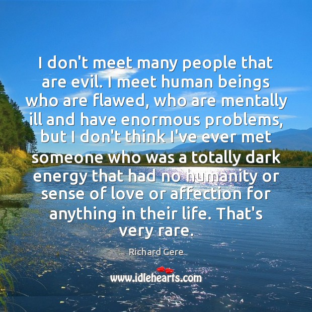I don't meet many people that are evil. I meet human beings Richard Gere Picture Quote