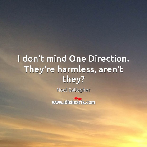 I don't mind One Direction. They're harmless, aren't they? Noel Gallagher Picture Quote