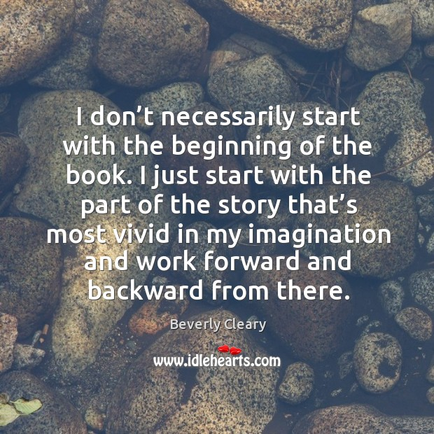 I don't necessarily start with the beginning of the book. I just start with the part of the story Image