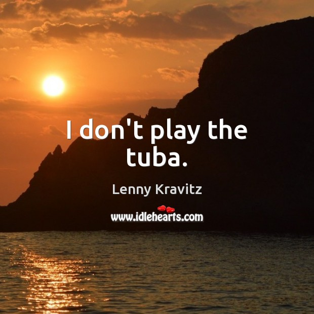 I don't play the tuba. Lenny Kravitz Picture Quote