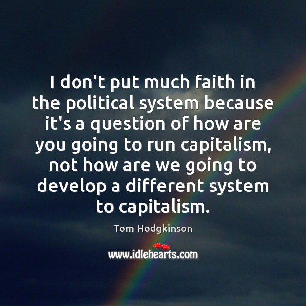 I don't put much faith in the political system because it's a Tom Hodgkinson Picture Quote