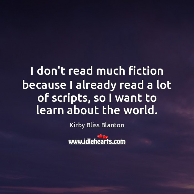 I don't read much fiction because I already read a lot of Image