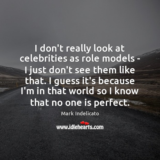 I don't really look at celebrities as role models – I just Image