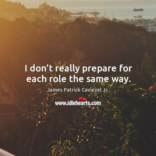I don't really prepare for each role the same way. Image