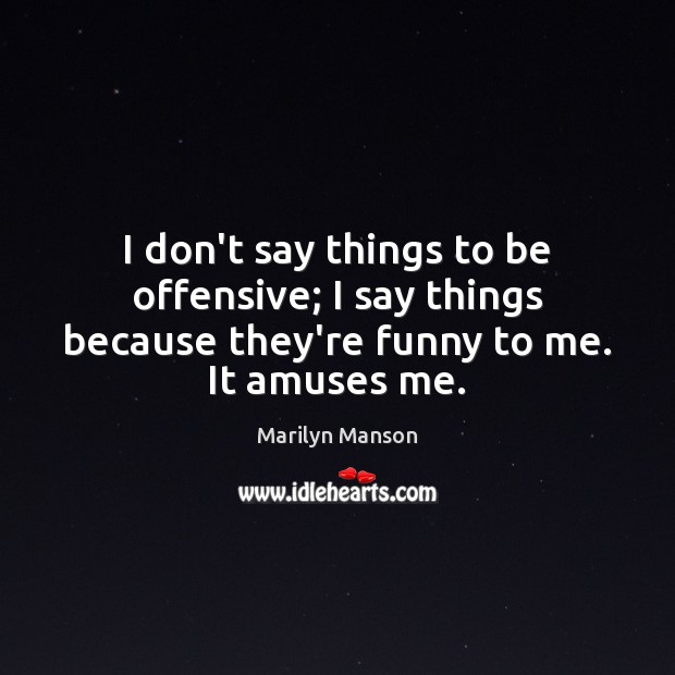 I don't say things to be offensive; I say things because they're Offensive Quotes Image