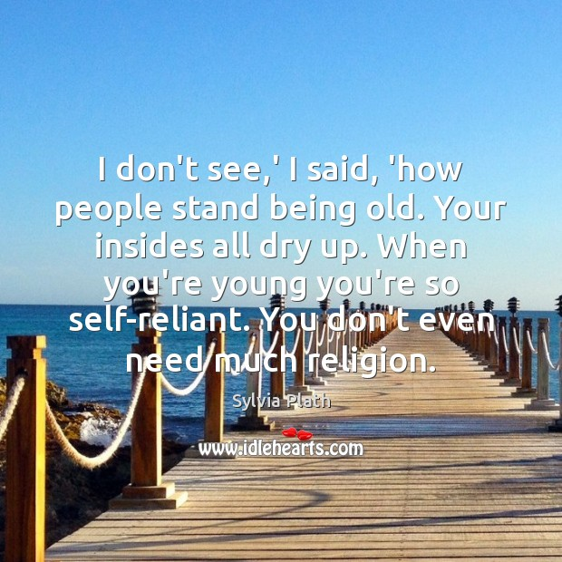 I don't see,' I said, 'how people stand being old. Your Image
