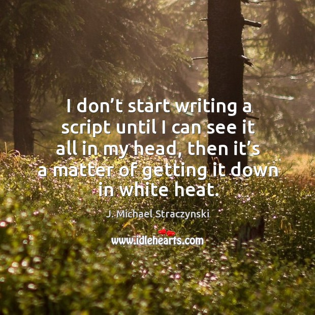 I don't start writing a script until I can see it all in my head, then it's a matter of getting it down in white heat. J. Michael Straczynski Picture Quote