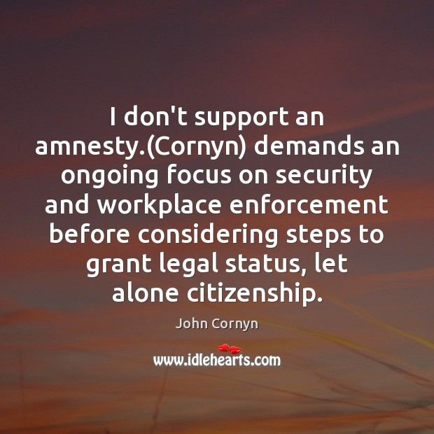 I don't support an amnesty.(Cornyn) demands an ongoing focus on security John Cornyn Picture Quote