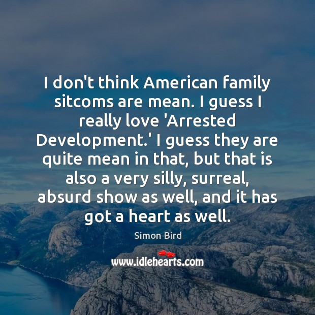 Image, I don't think American family sitcoms are mean. I guess I really