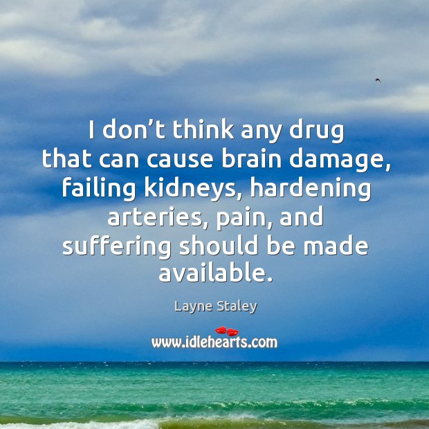 I don't think any drug that can cause brain damage, failing kidneys, hardening arteries Layne Staley Picture Quote