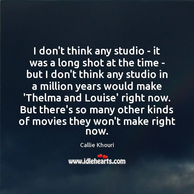 I don't think any studio – it was a long shot at Callie Khouri Picture Quote
