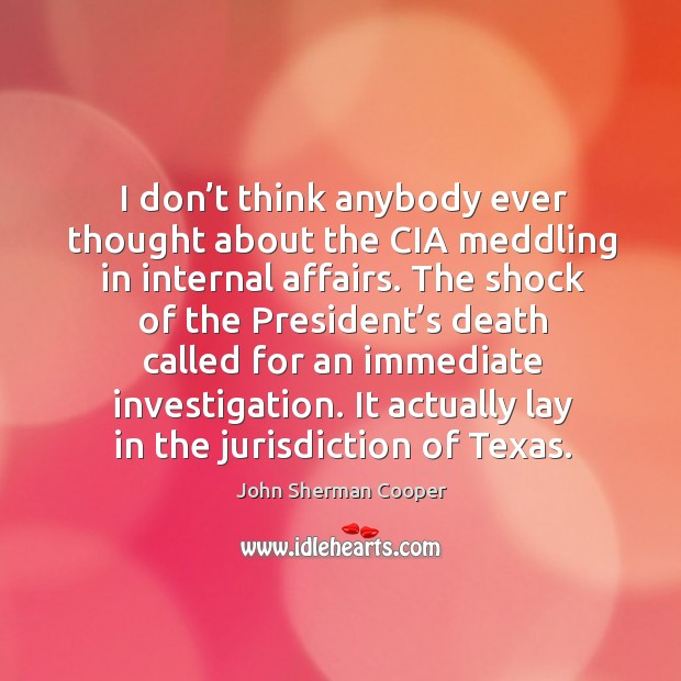I don't think anybody ever thought about the cia meddling in internal affairs. John Sherman Cooper Picture Quote