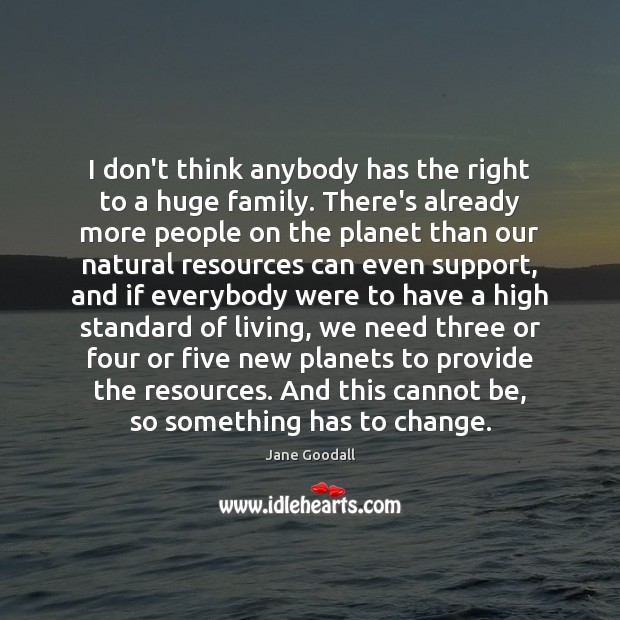 Image, I don't think anybody has the right to a huge family. There's