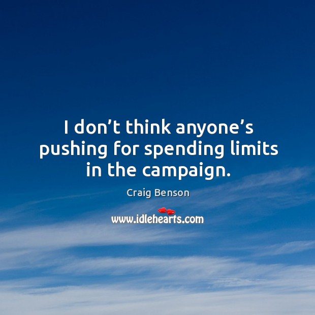I don't think anyone's pushing for spending limits in the campaign. Craig Benson Picture Quote