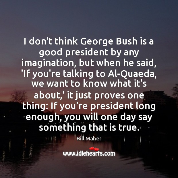 I don't think George Bush is a good president by any imagination, Image