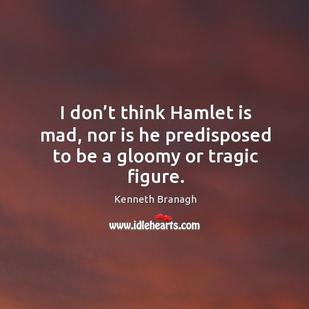 Image, I don't think hamlet is mad, nor is he predisposed to be a gloomy or tragic figure.