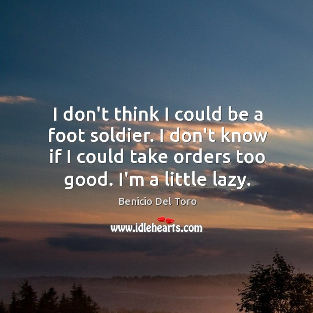 I don't think I could be a foot soldier. I don't know Benicio Del Toro Picture Quote