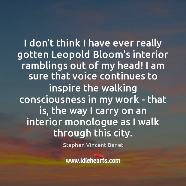 I don't think I have ever really gotten Leopold Bloom's interior ramblings Stephen Vincent Benet Picture Quote