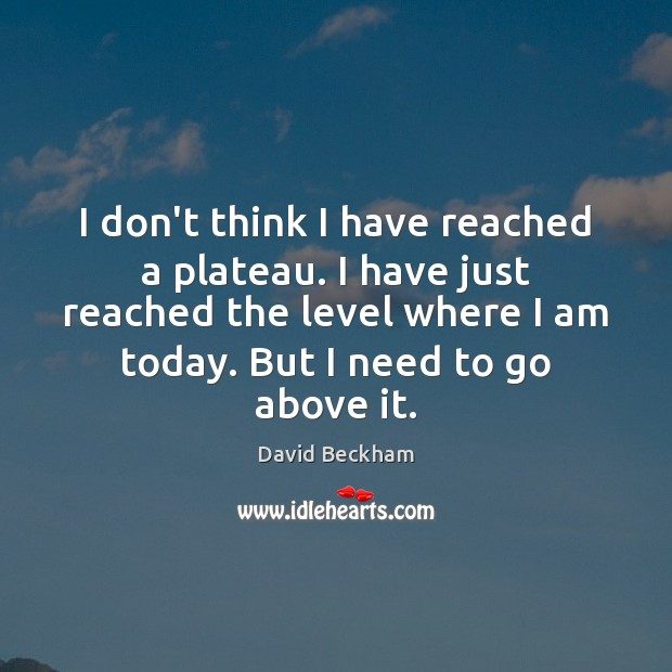 I don't think I have reached a plateau. I have just reached David Beckham Picture Quote