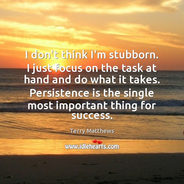 I don't think I'm stubborn. I just focus on the task at Persistence Quotes Image