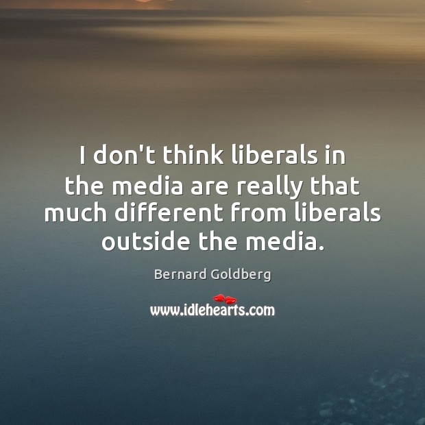 I don't think liberals in the media are really that much different Image