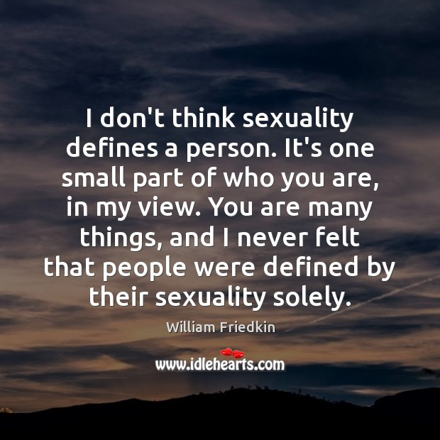 I don't think sexuality defines a person. It's one small part of William Friedkin Picture Quote