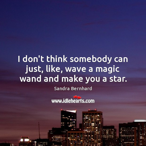 I don't think somebody can just, like, wave a magic wand and make you a star. Sandra Bernhard Picture Quote
