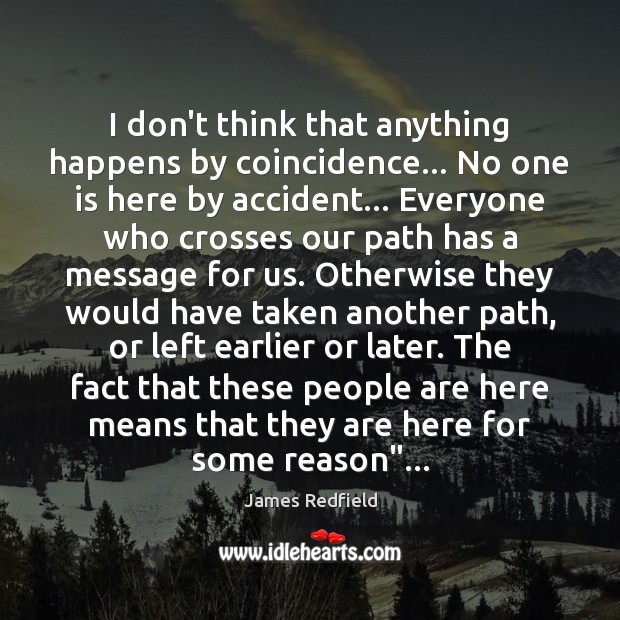 I don't think that anything happens by coincidence… No one is here James Redfield Picture Quote