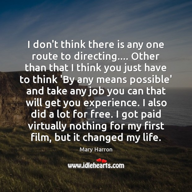 I don't think there is any one route to directing…. Other than Mary Harron Picture Quote