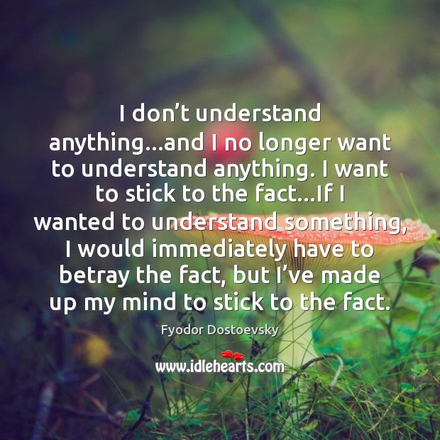 I don't understand anything…and I no longer want to understand Fyodor Dostoevsky Picture Quote