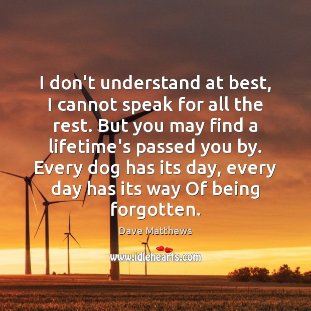 I don't understand at best, I cannot speak for all the rest. Dave Matthews Picture Quote