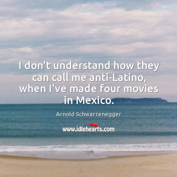 Image, I don't understand how they can call me anti-Latino, when I've made four movies in Mexico.