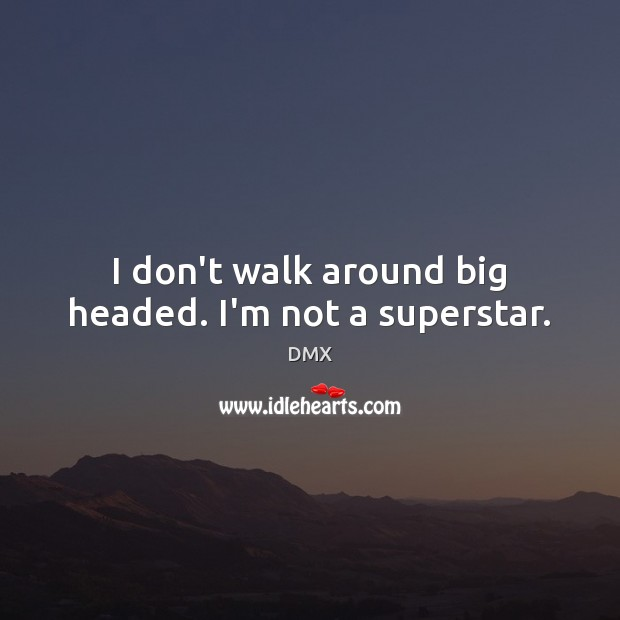 I don't walk around big headed. I'm not a superstar. DMX Picture Quote