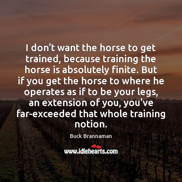 I don't want the horse to get trained, because training the horse Image